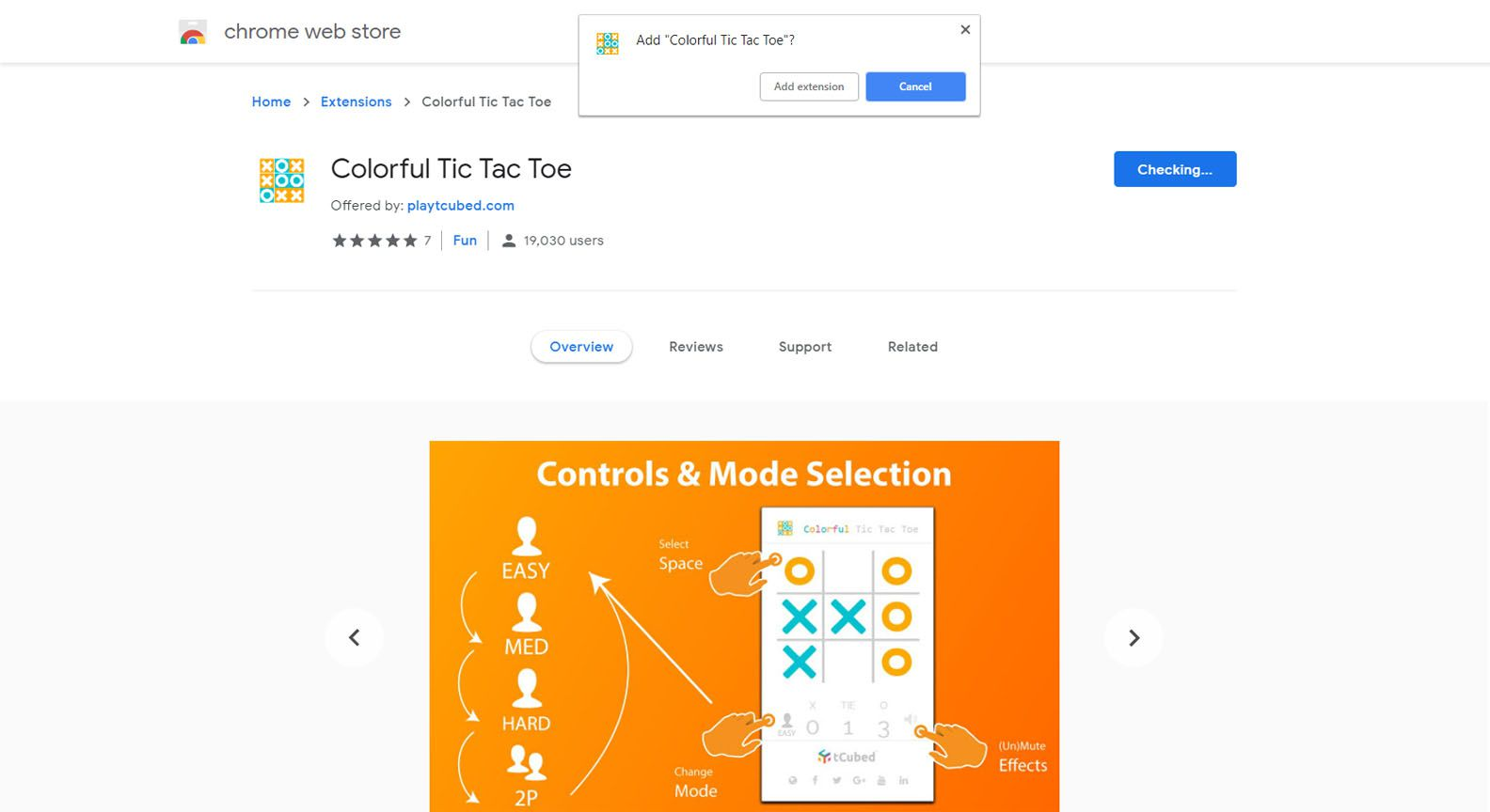 Dialog box for adding Colorful Tic Tac Toe Chrome extension