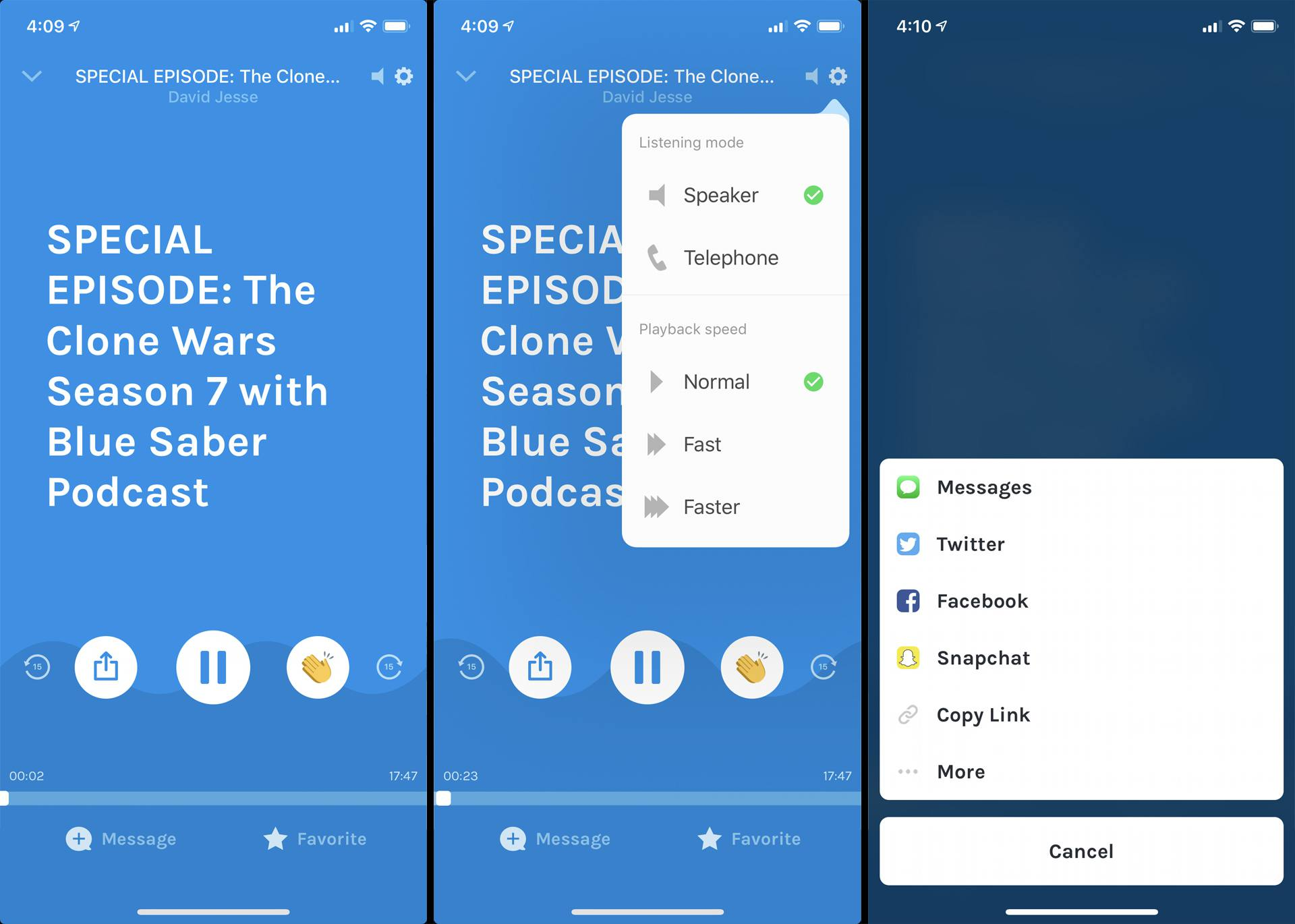 Podcast listening features within the iOS Anchor app.