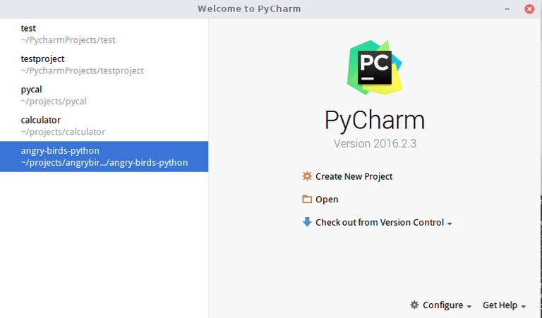 PyCharm Home Screen