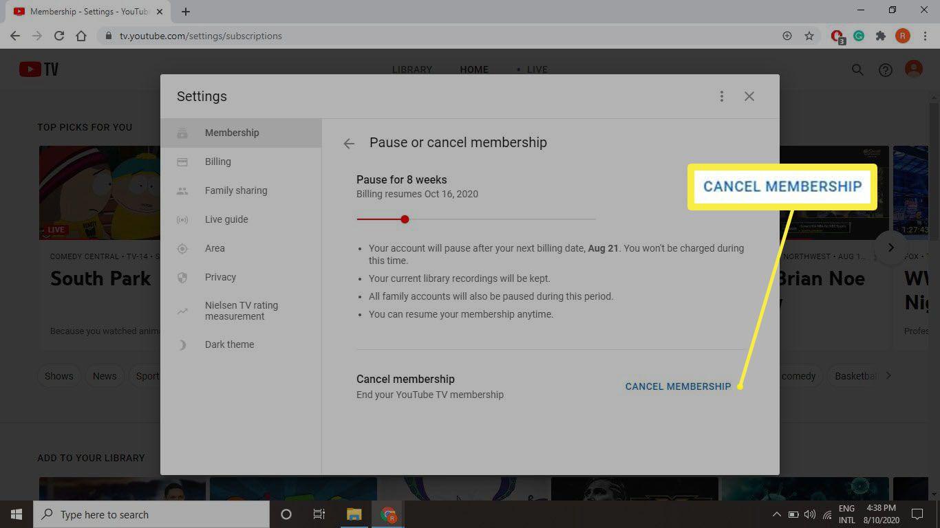 A screenshot of tv.youtube.com where you can cancel your membership.