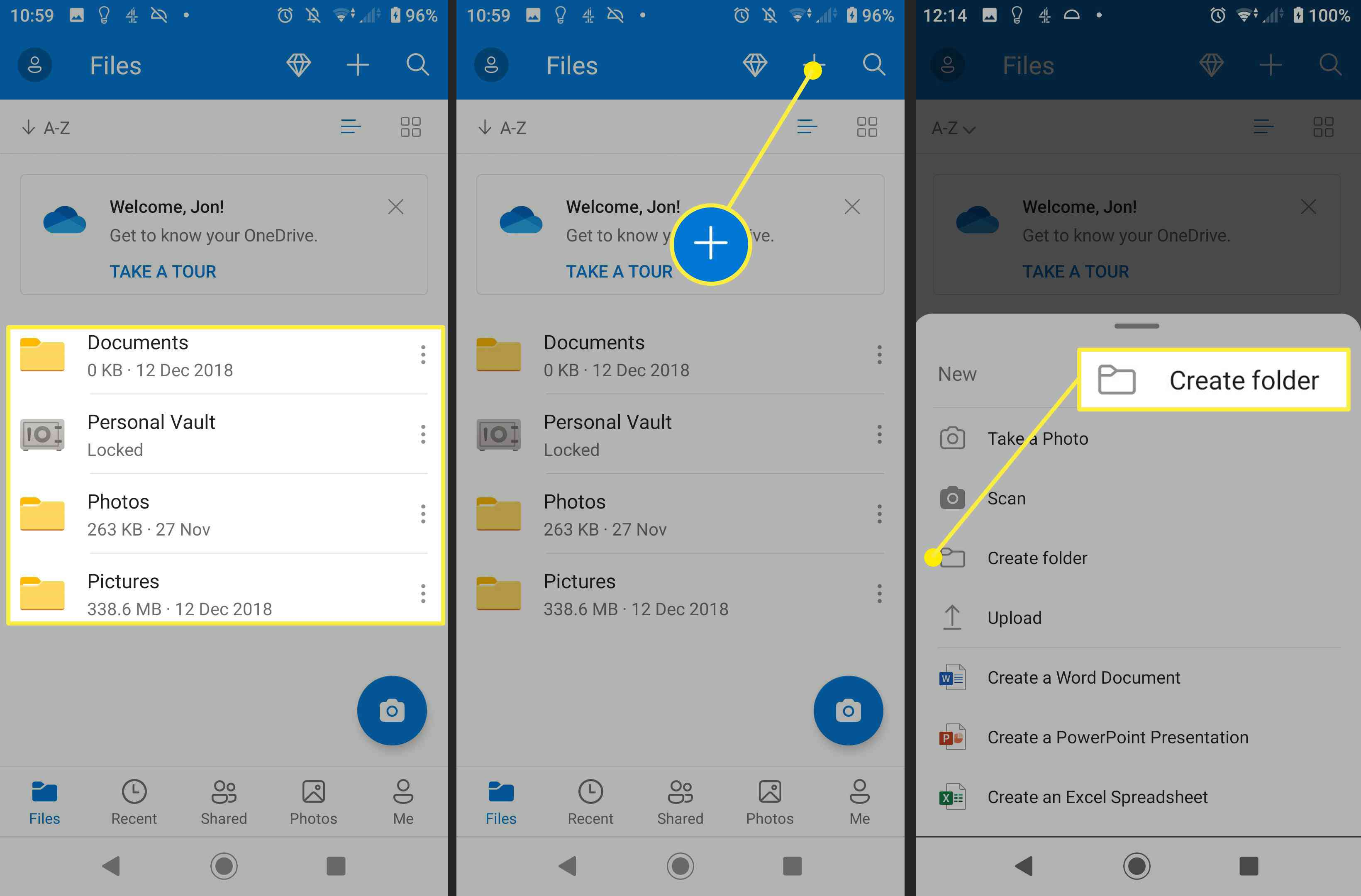 Images of the folder system on Android and how to create a new folder on Android.