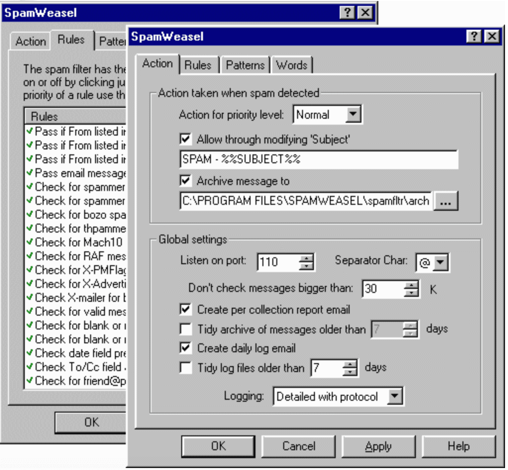 Screenshot of SpamWeasel