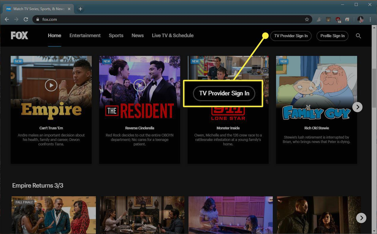 The TV Provider Sign In button on Fox.com