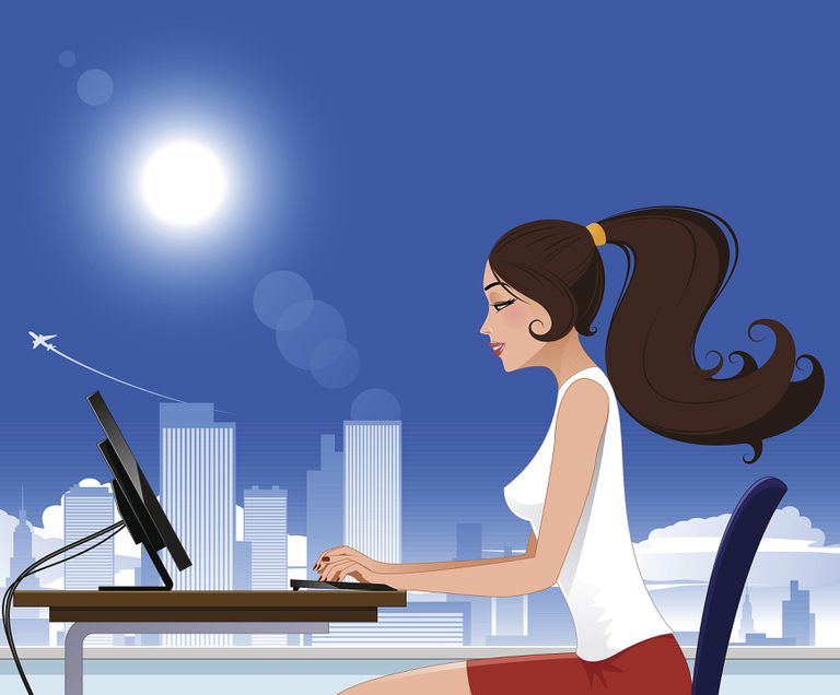 Cartoon woman on computer with city in background