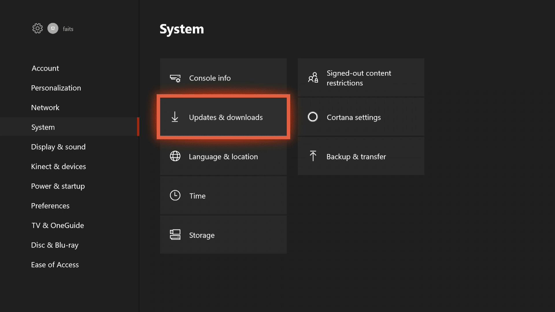 A screenshot of the Xbox One System menu.