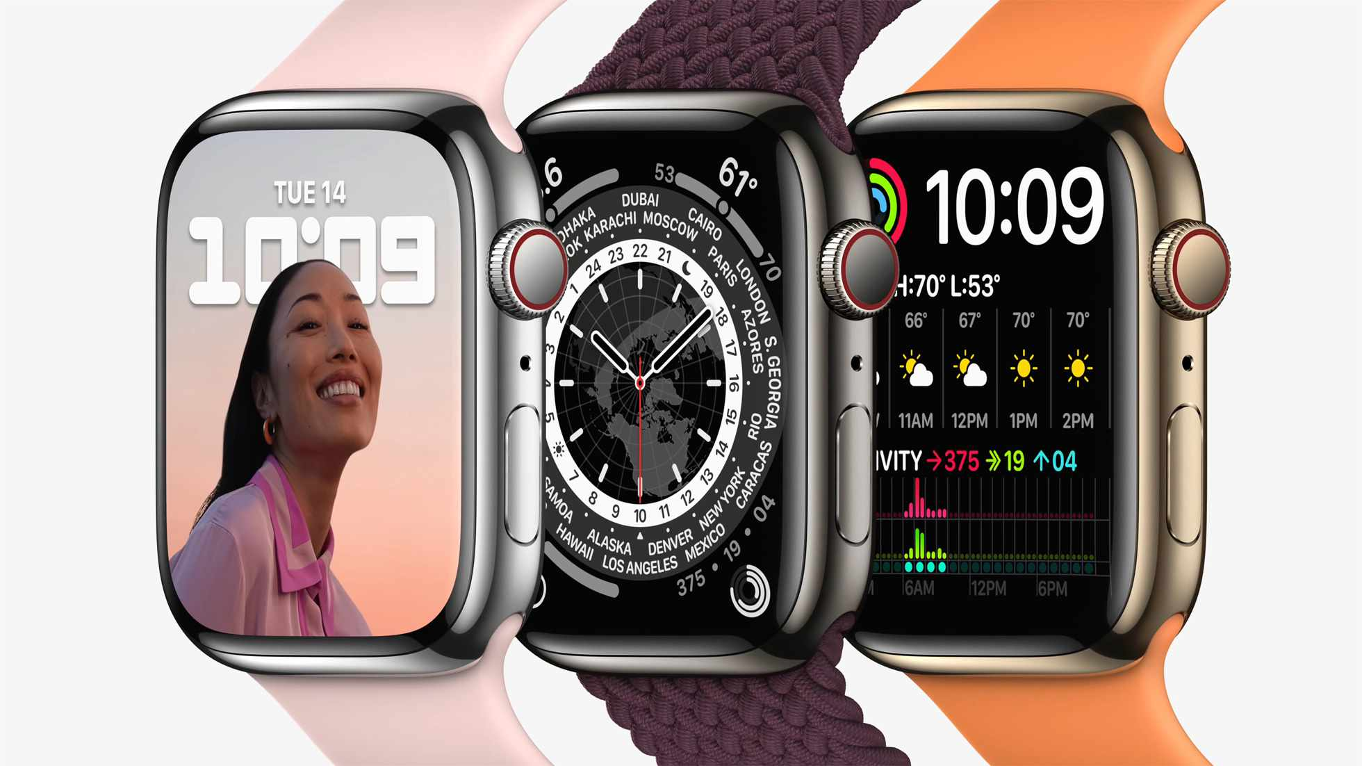 Apple Watch Series 7 in different colors with different watchbands