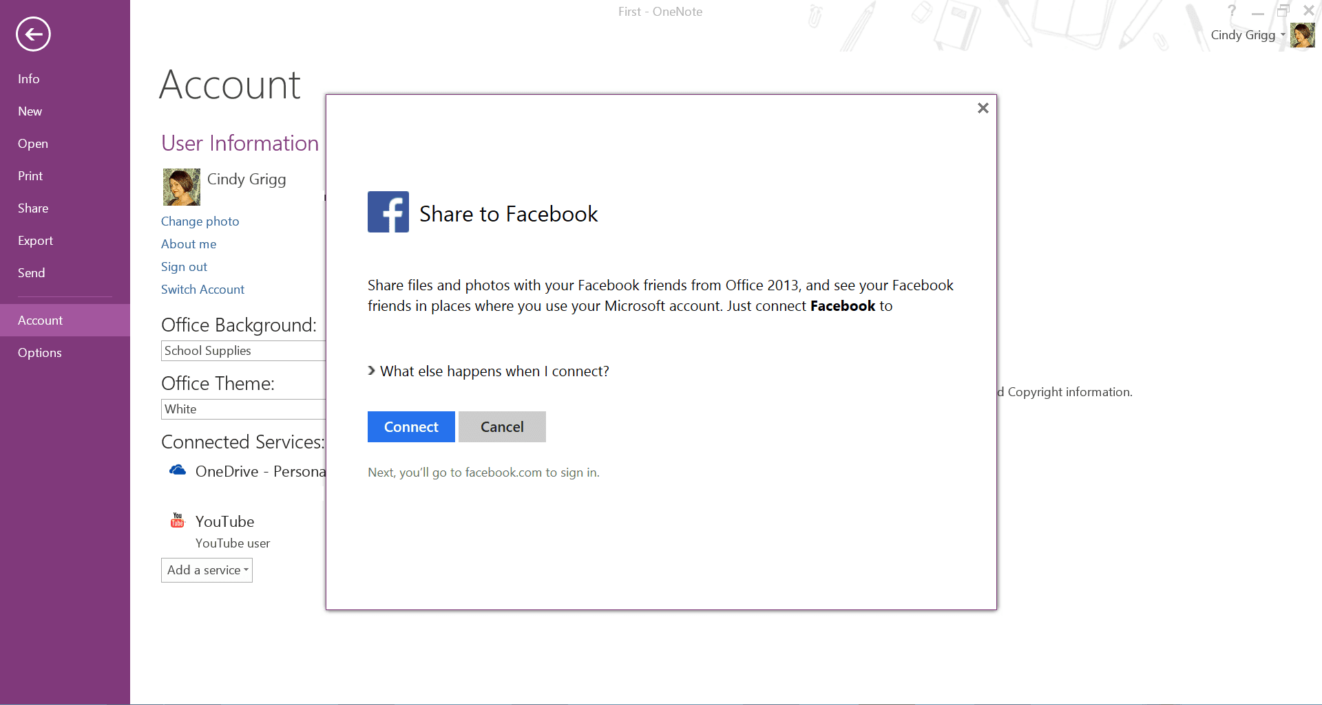 Share OneNote to Facebook