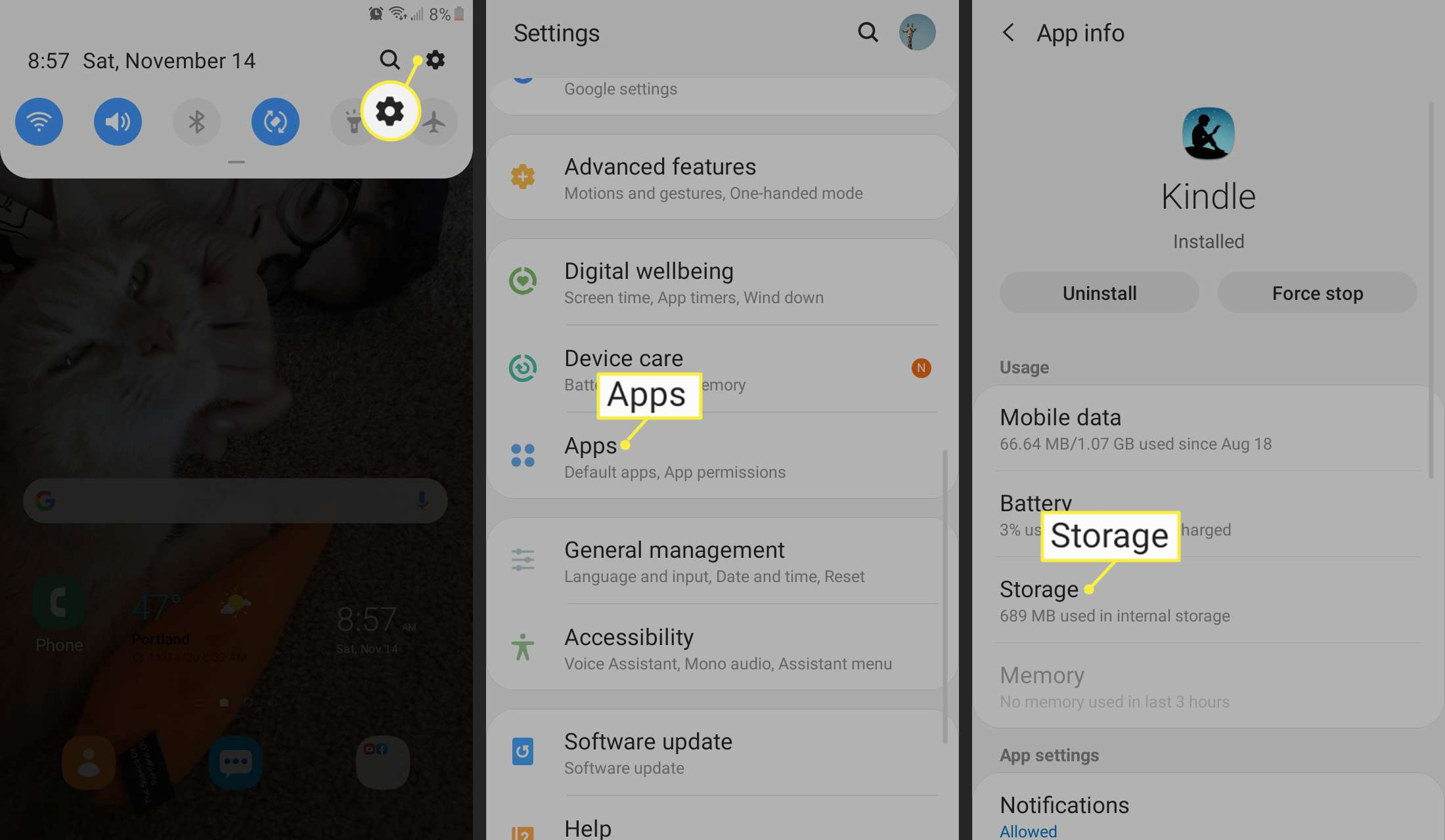 Settings, Apps, and Storage on Android