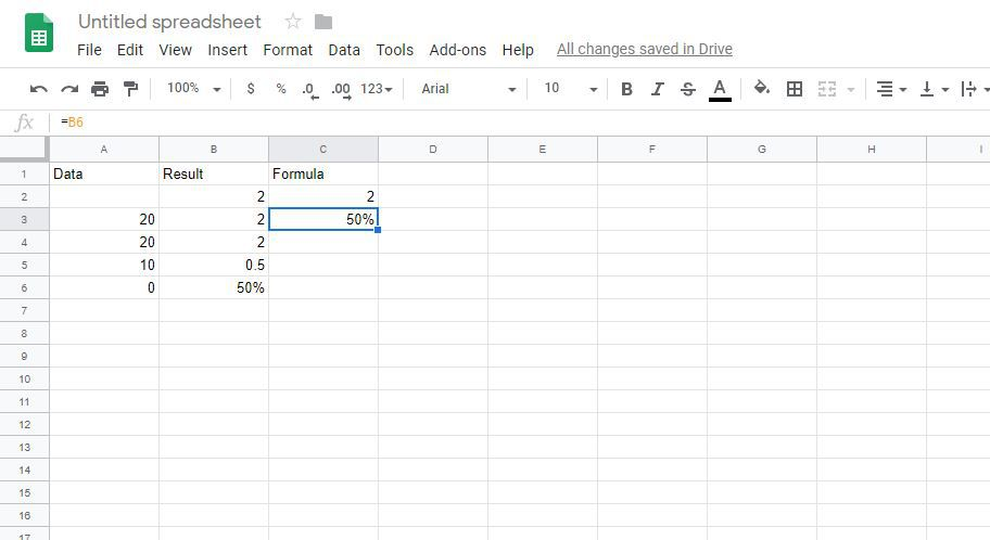 Dividing in Google Spreadsheets