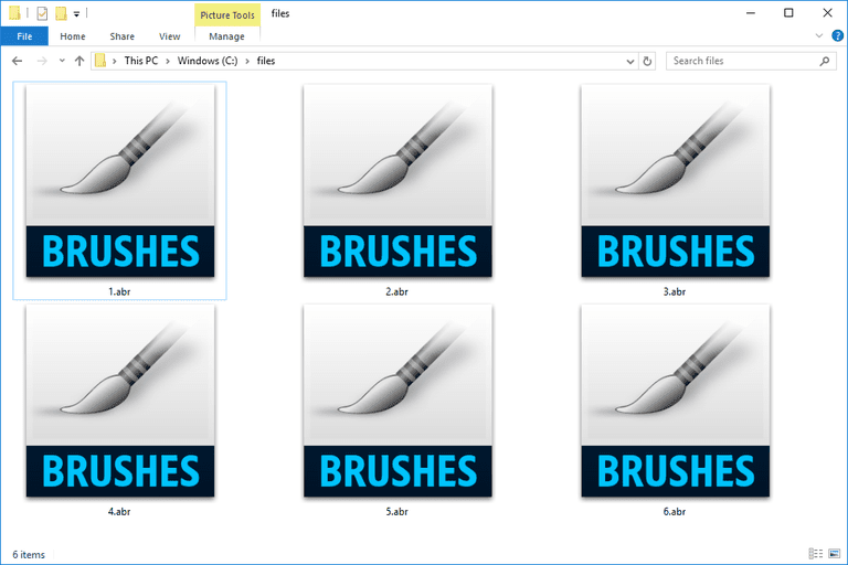 Screenshot of several ABR files used by Photoshop in Windows 10