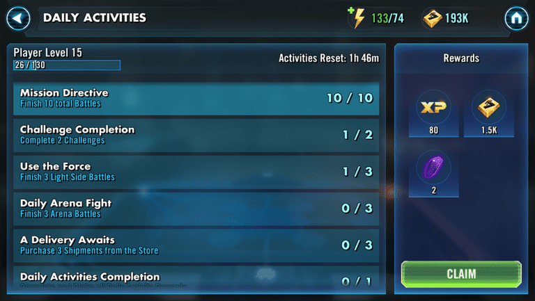 Star Wars Galaxy of Heroes how to level up faster daily activities