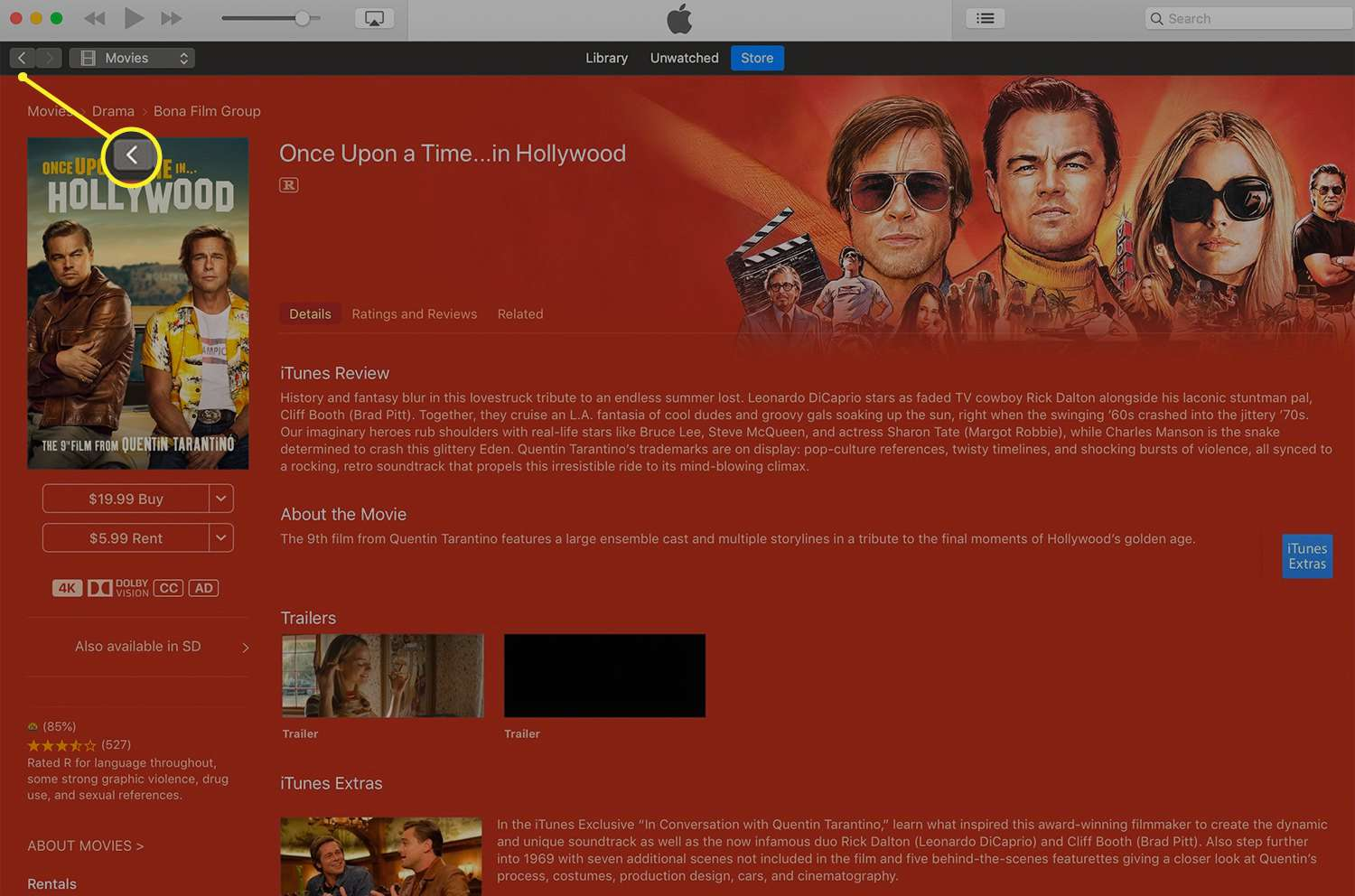 A movie information screen in iTunes