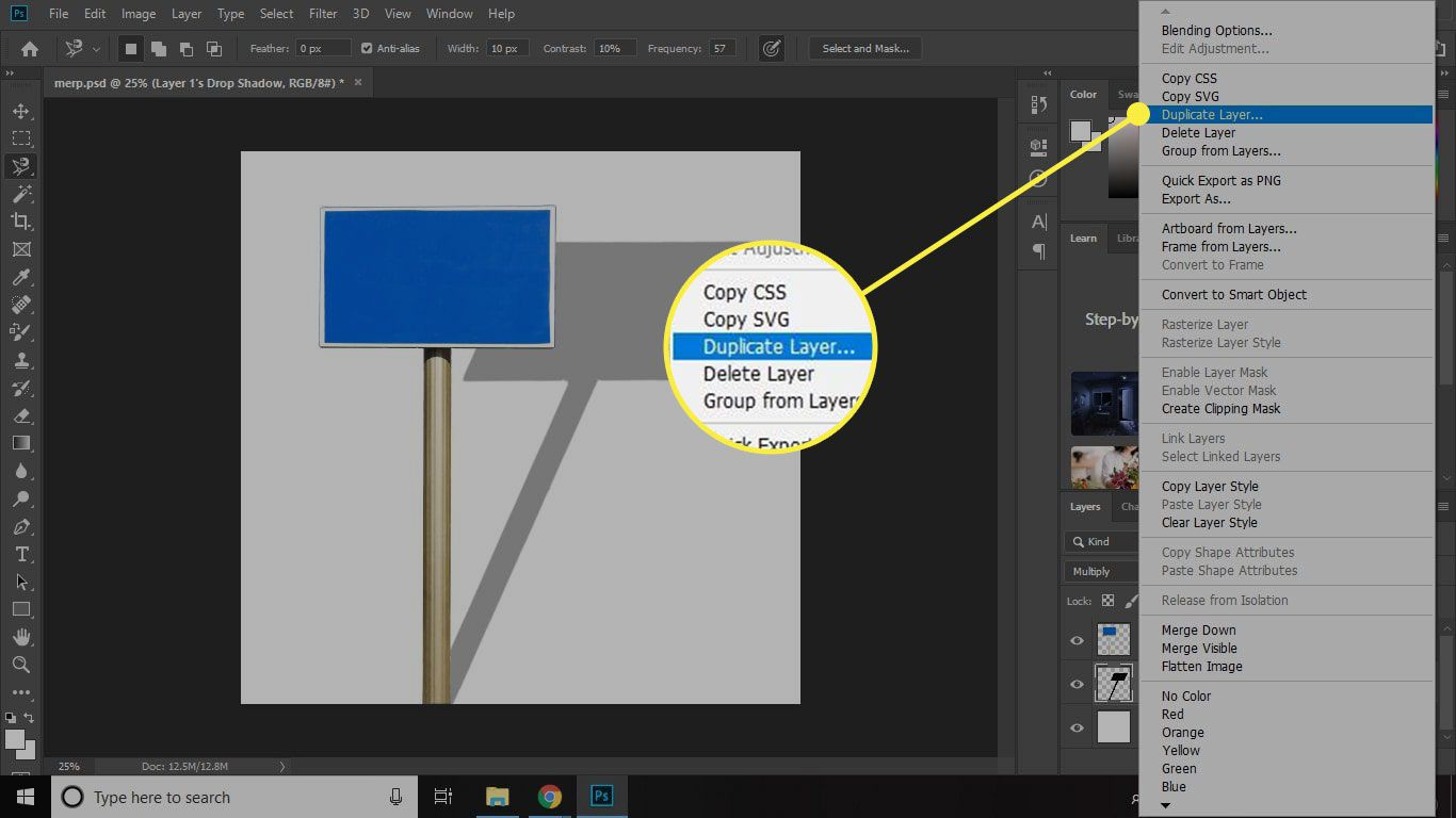 A screenshot of Photoshop with the Duplicate Layer command highlighted