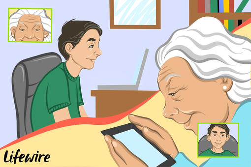 Illustration of a grandparent and grandchild video chatting