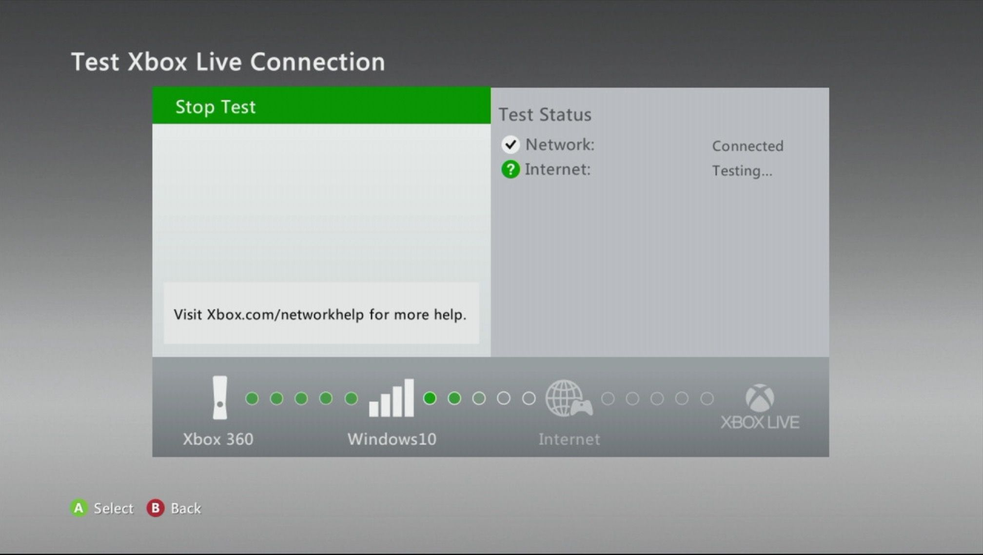 Xbox Live connection test on a 360