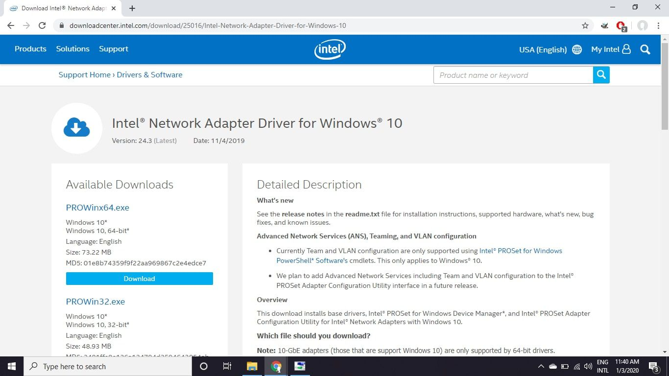 Intel network adapter driver download page