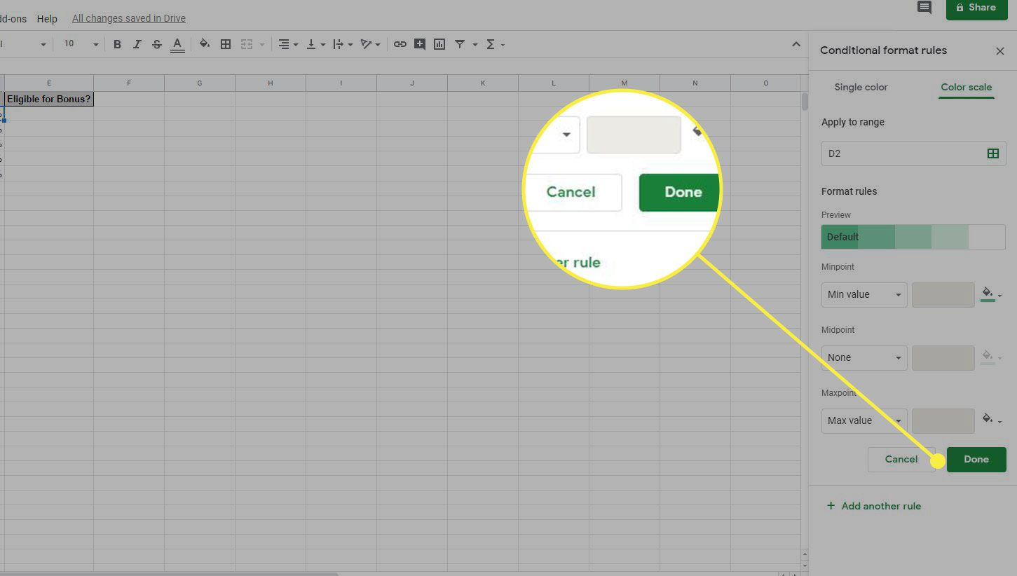 Google Sheets Conditional Format Rules window with Done button