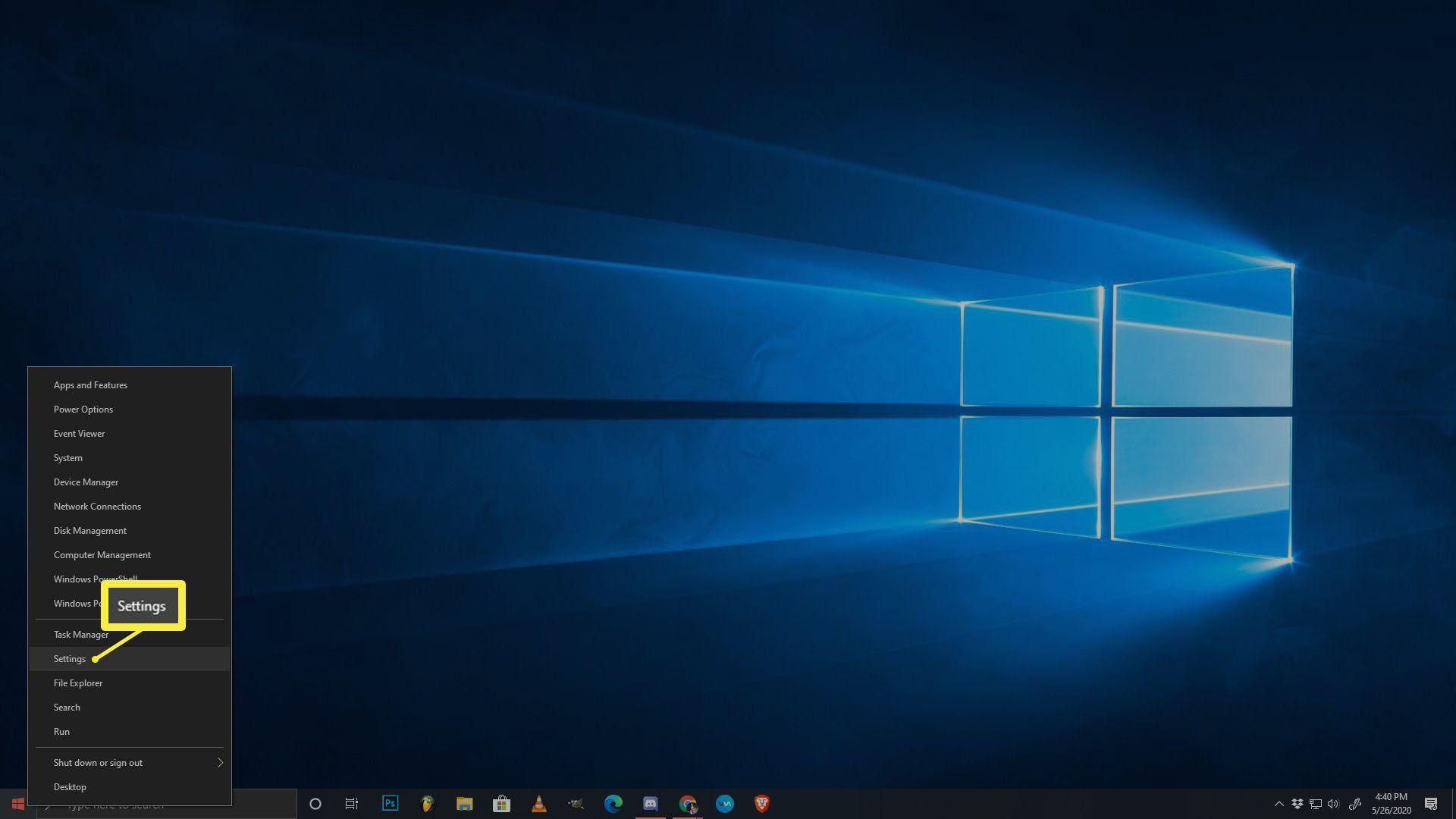 A screenshot of the Windows 10 start menu.