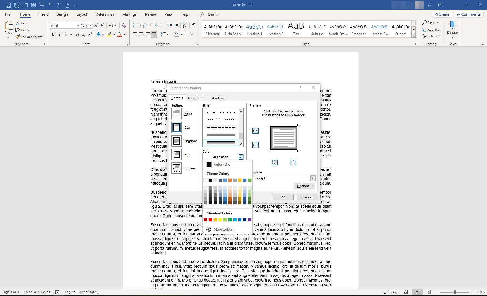 Applying a Border to Part of a Microsoft Word Document