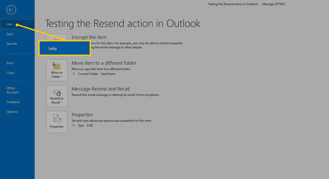 Info pane in Outlook