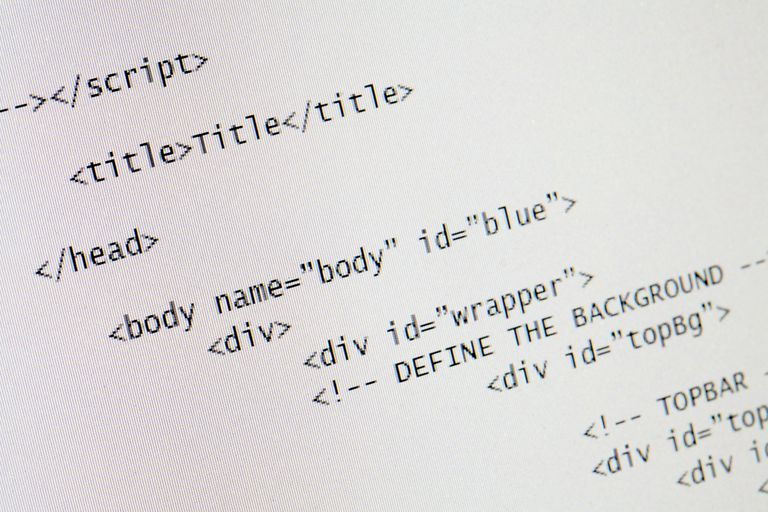 HTML code on a white background