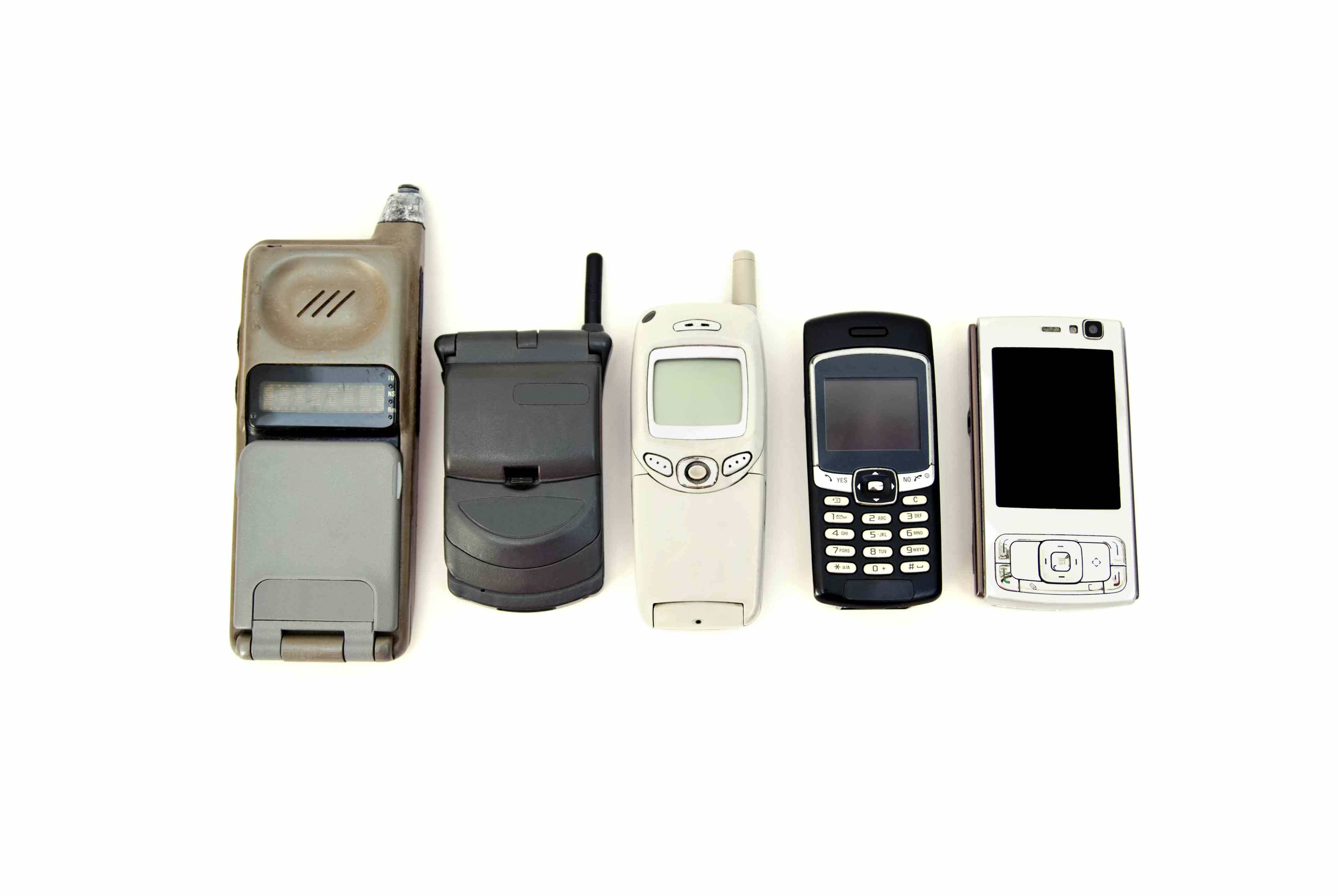 Cell phone variety from old obsolete to modern equipment