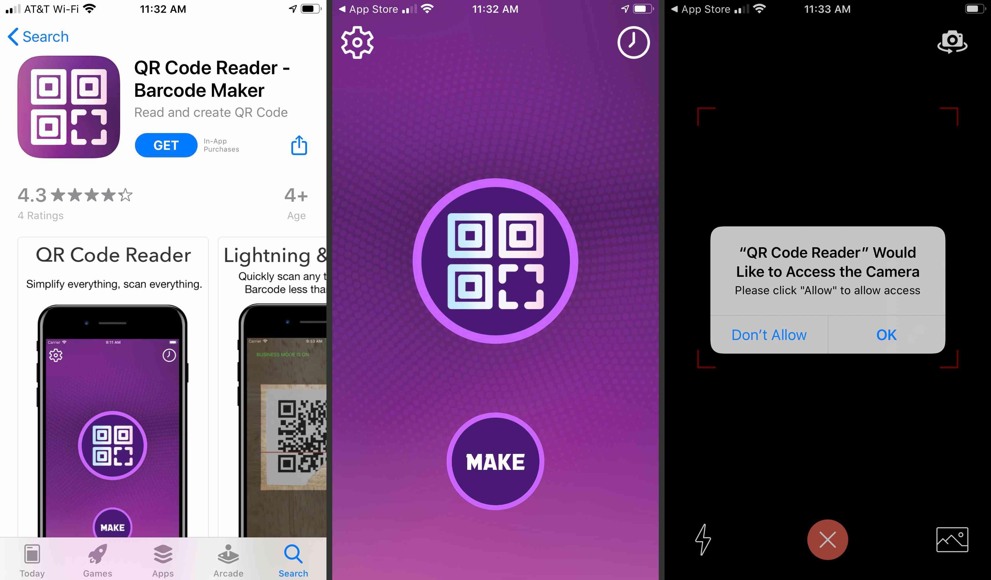 QR Code reader app accessing iOS camera