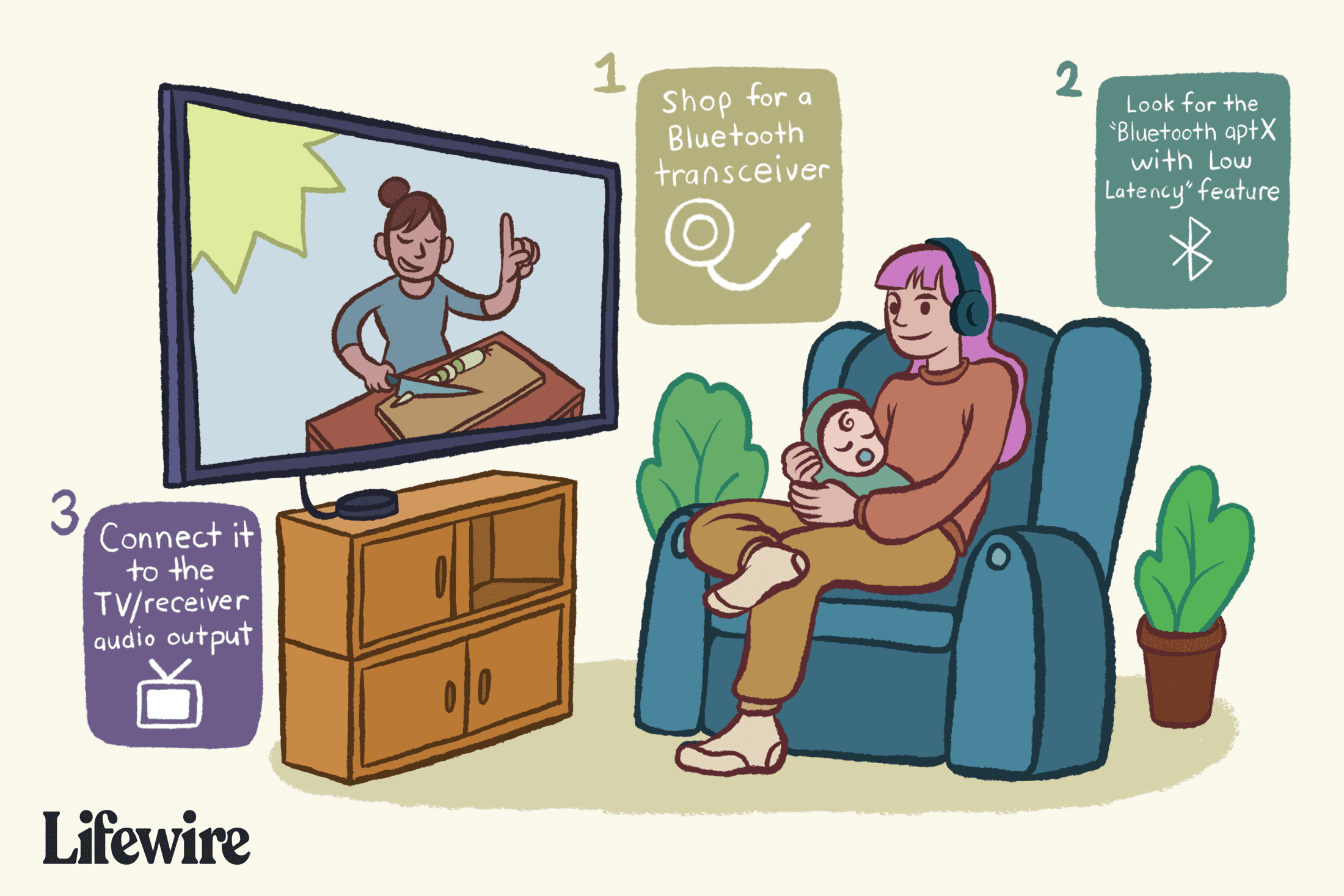 Woman holding a baby while wearing Bluetooth headphones to watch TV