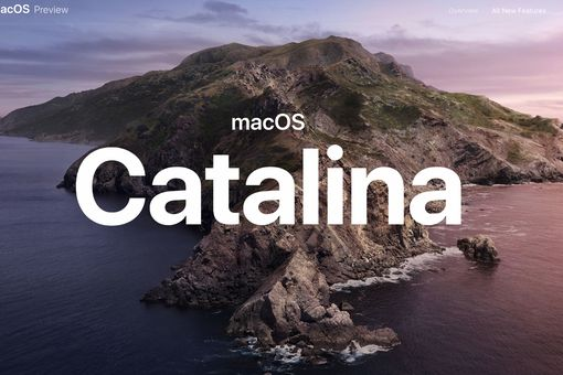 Apple's macOS Catalina web page splash screen