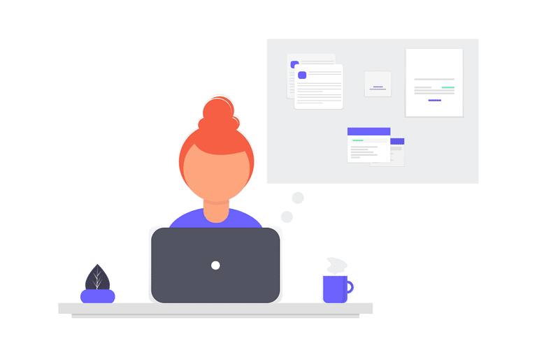 Laptop organizational search illustration