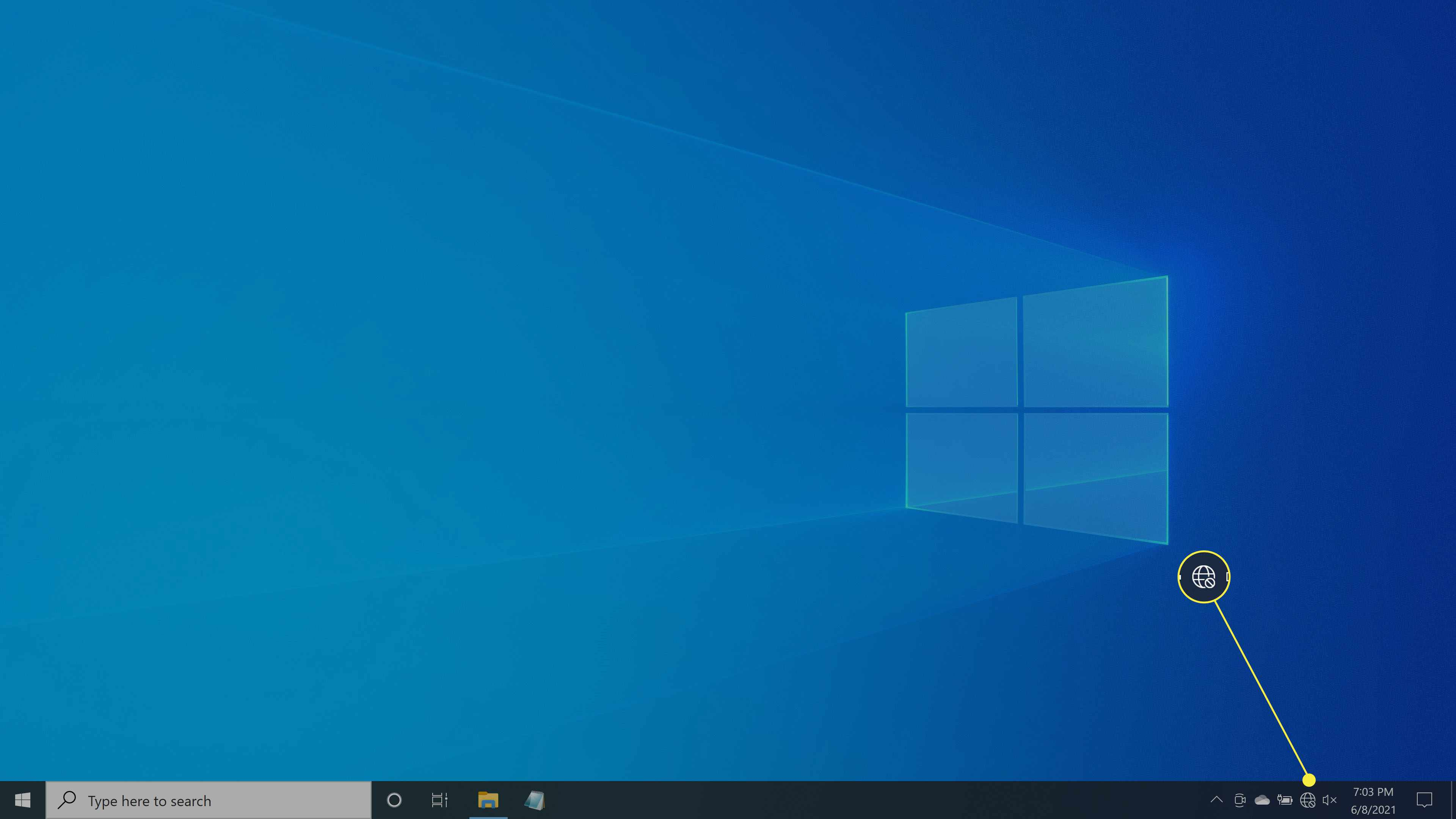 The no network connection symbol on the Taskbar in Windows 10.