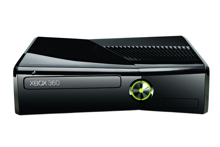 Black Xbox 360 on its side