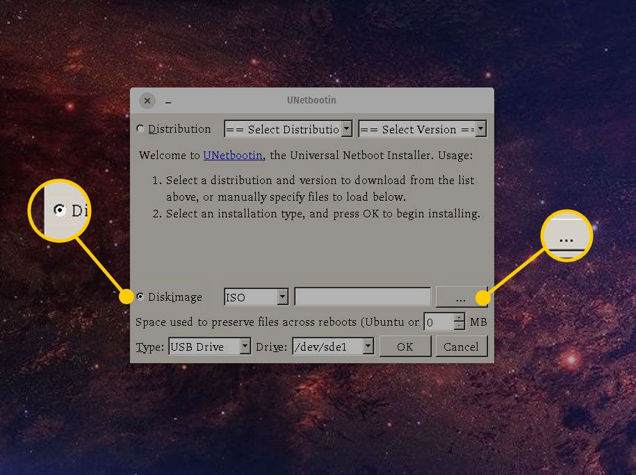 Diskimage and More buttons in UNetbootin