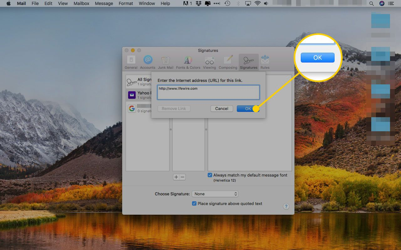Add Link dialogue window in Apple mail with the OK button highlighted