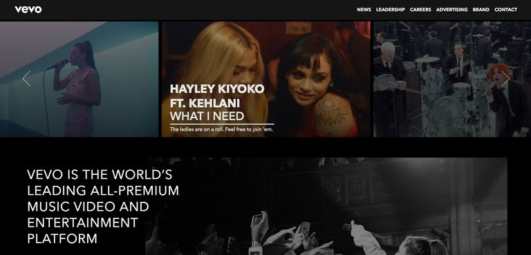 A screenshot of Vevo.com.