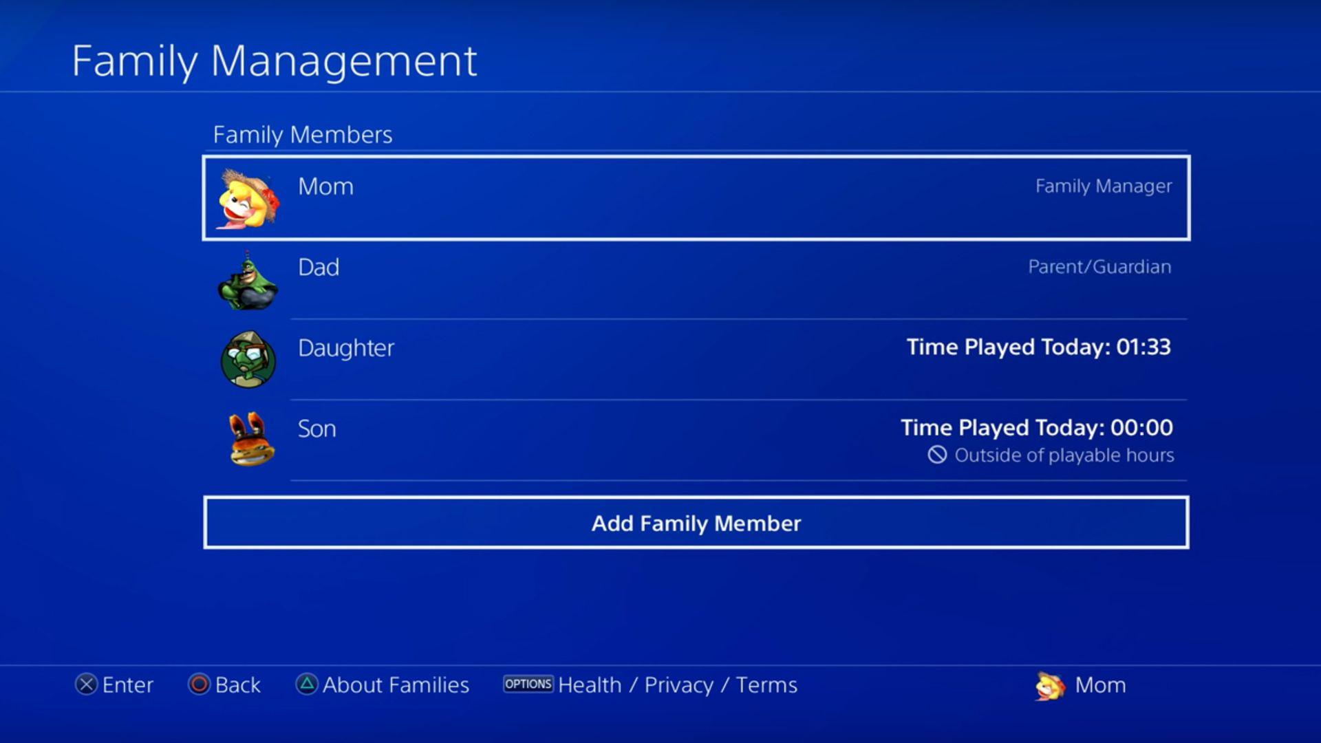 Sony PlayStation 4's Family on PSN settings.