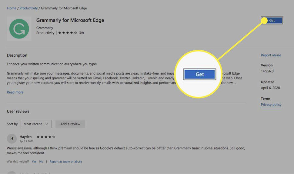 An extension page for Edge with the Get button highlighted