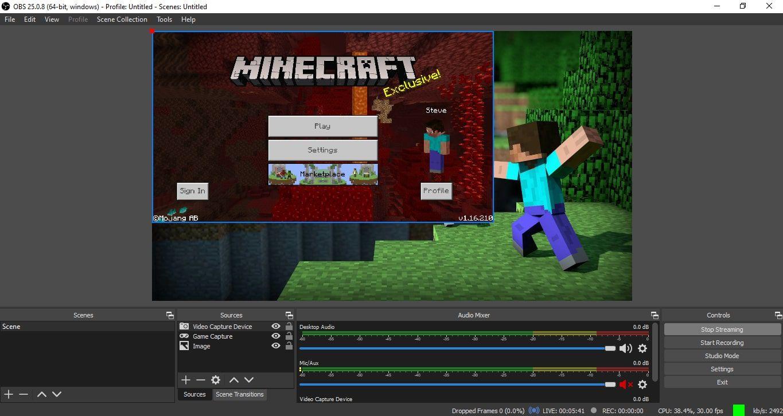 Minecraft streaming window in OBS Studio