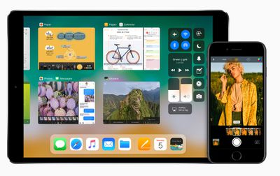 Screenshots of iOS 11 running on devices