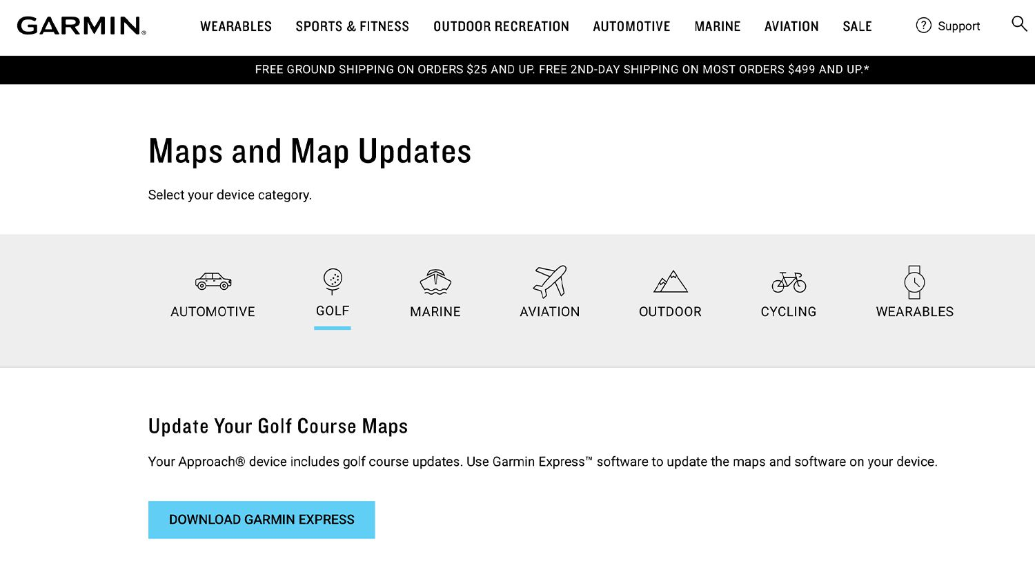 Garmin Maps and Map Updates showing Golf option