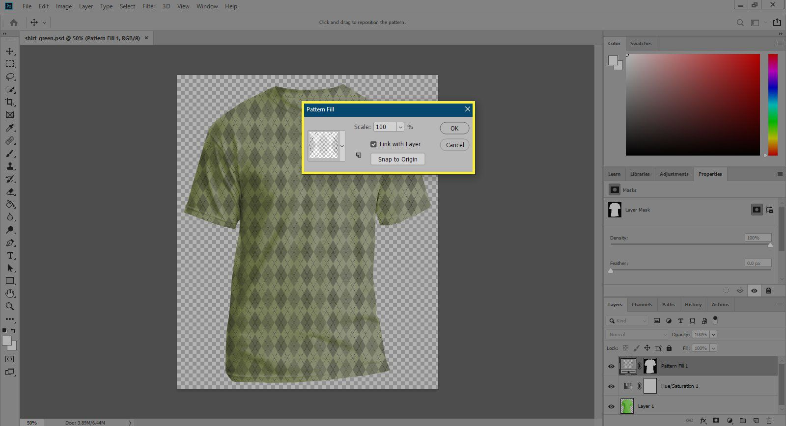 A screenshot of Photoshop with the Pattern Fill dialogue box highlighted