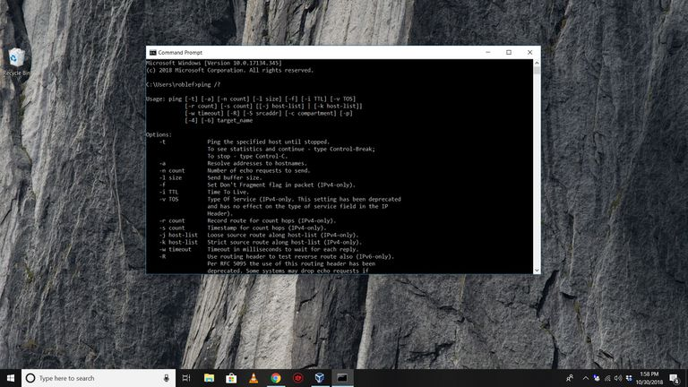 Ping command in Command Prompt on WIndows 10