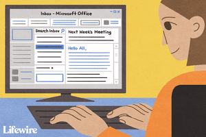 Person viewing email grouped by thread in Microsoft Outlook