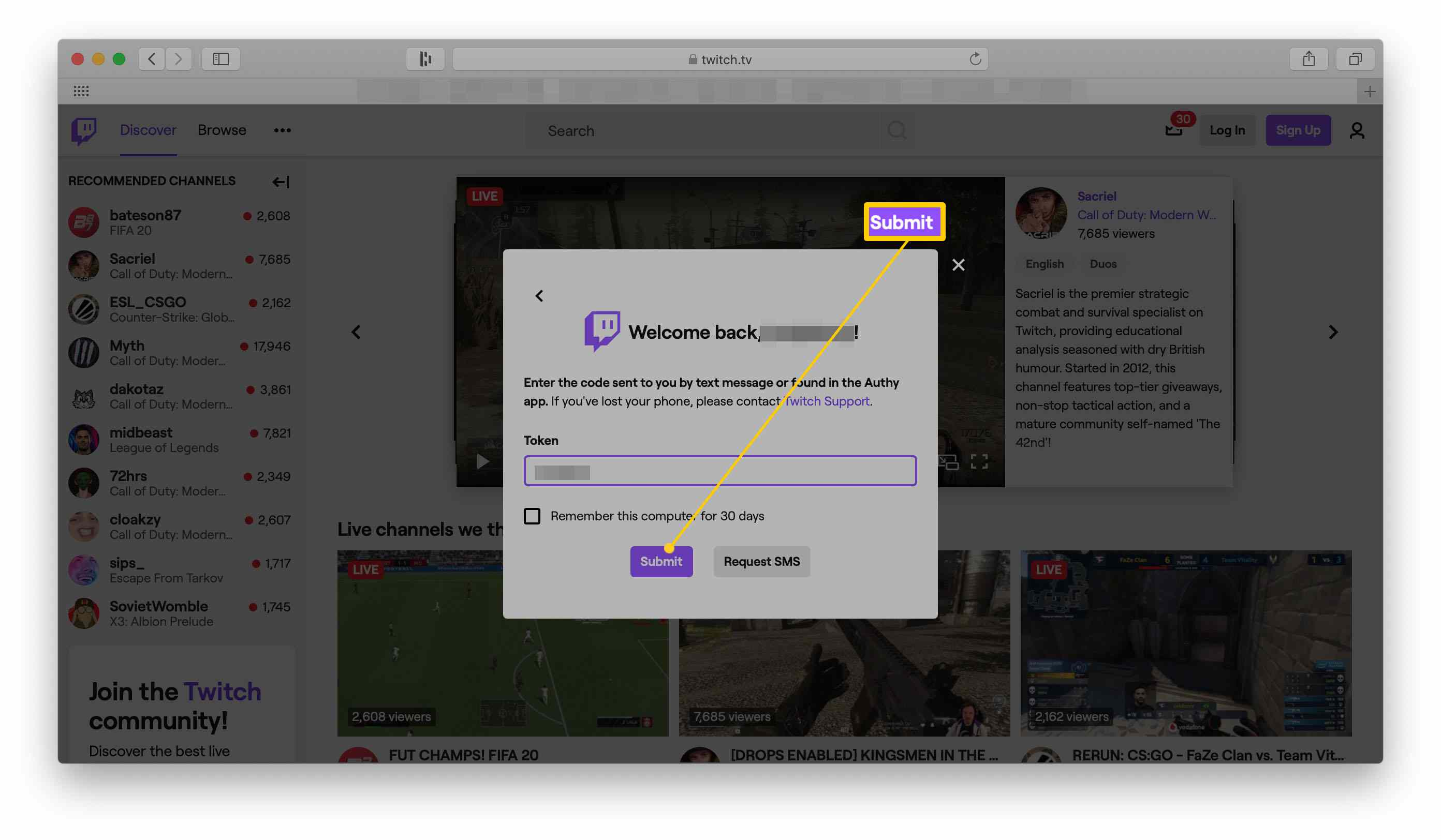 Twitch website with the two-factor authentication log in screen highlighted