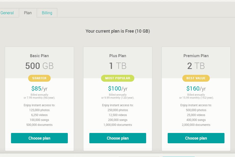 Screenshot of the MiMedia backup upgrade options