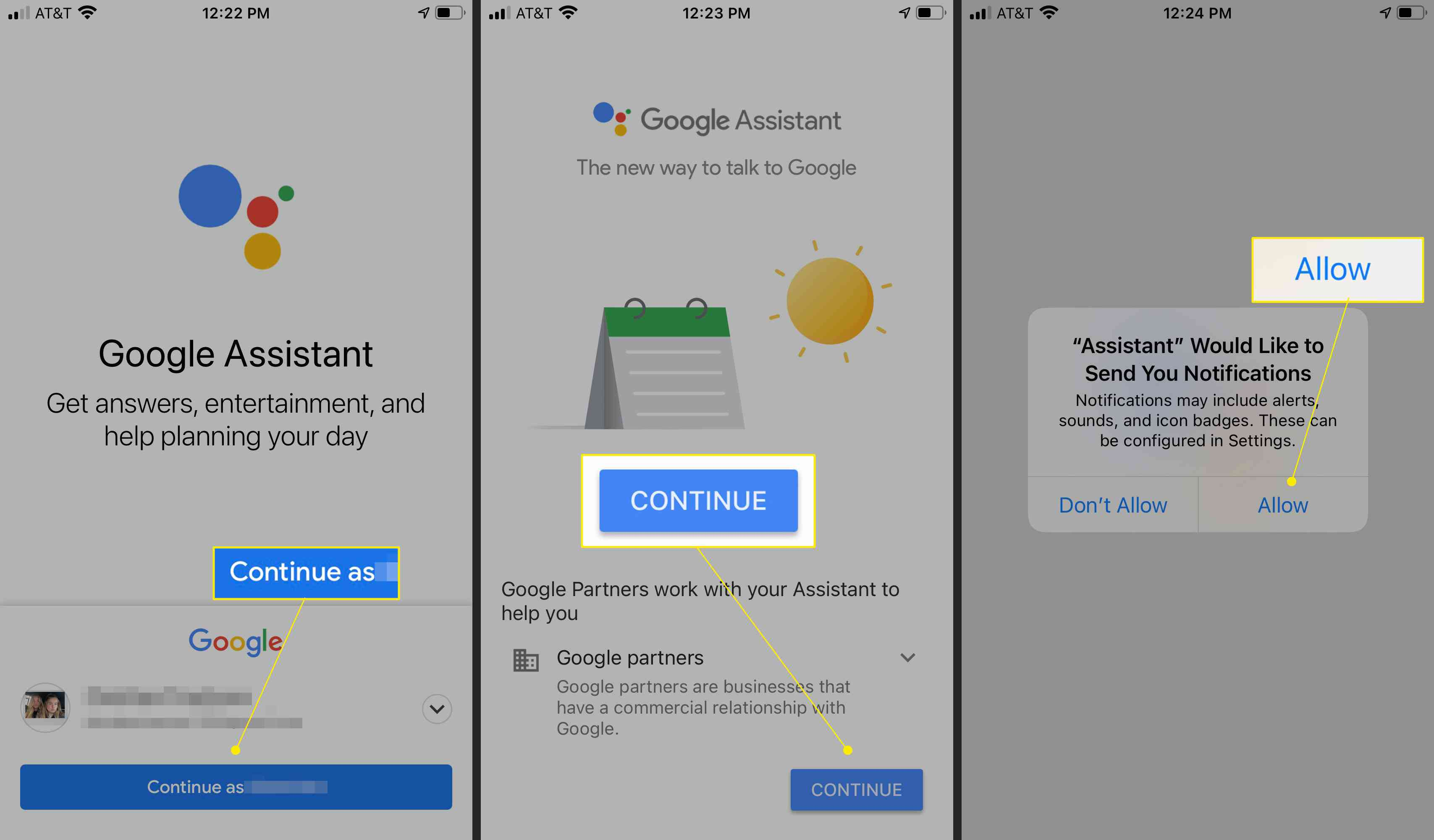 Google assistant app with continue as, continue, and allow highlighted