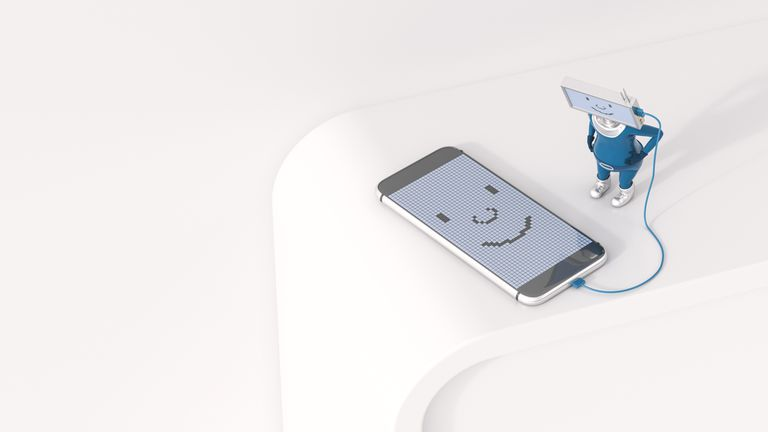 3D Illustration, Figurine loading smartphone