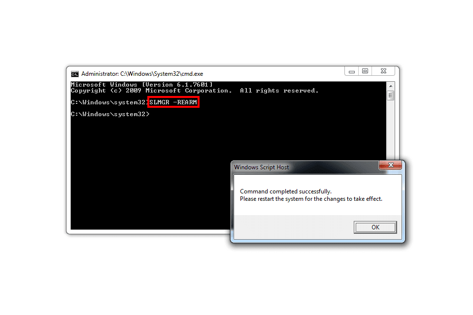 Screenshot of the 'slmgr -rearm' command in a Windows 7 Command Prompt
