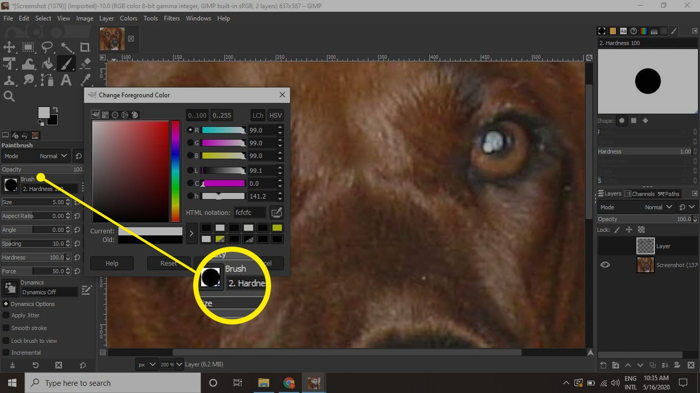 Select a hard-edge brush, set the size very small (about 5-10 pixels), and set the foreground color to white.