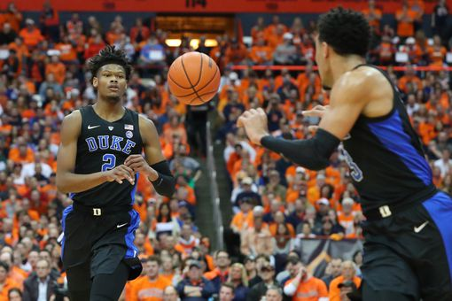 Duke players set up a basket in the run up to March Madness 2019.